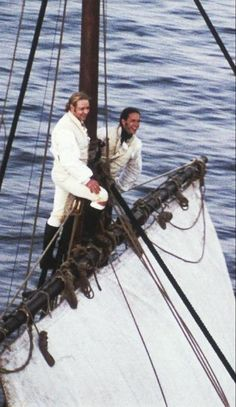 Russell Crowe and James D'Arcy aloft on the HMS Surprise in Master and Commander.