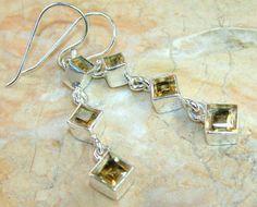   Top Grade Citrien Earrings : Sterling Silver Citrine Earrings  