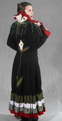 Artistic Wearable Art Wool Coat with three by AyalaOriginals, $899.00