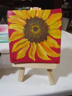 Sunflowers  Original mini painting on Canvas by SharonFosterArt, $20.00