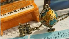 Wholesale Product Snapshot Product name is Fashion vintage Telescope World Earth necklace Wholesale !+ Free shipping#D38