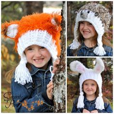 #SincerelyPam #crochet pattern. The Garden Friends Hoodlet. #fox #hedgehog #rabbit