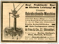 Original-Werbung/ Anzeige 1903 : ROHRABSCHNEIDE- MASCHINE / DE FRIES / DÜSSELDORF- HEERDT-LÖRICK ca  100 x 60 mm