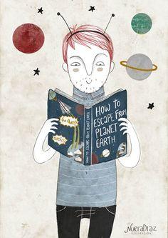 La lecture forme l'imagination, illustration de Nuria Díaz
