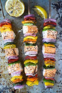 Rainbow Salmon Skewers are so pretty + healthy.