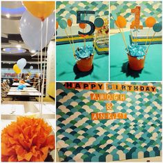 Blue & orange color themed birthday party