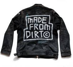 """HandpaintedMixed Media on Waxed Denim Jacket by G-Star RAW2015 Painted at for """"G-Star RAW x Boiler Room Sessions""""Worn during live Neverland Clan performance at Boiler Room by Ryan Hawaii, 2015.""""We're all made from dirt, so what you looking down your nose at"""