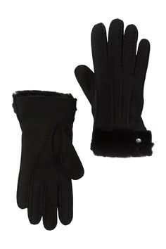 Incredibly soft and cozy genuine shearling trimmed gloves. Genuine shearling cuffs. Leather construction. Imported Best Winter Gloves, Slipper Boots, Ugg Classic, Knitted Gloves, The Ranch, Waterproof Boots, Leather Gloves, Nordstrom Rack, Uggs
