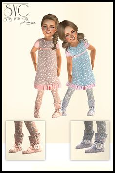 Sims York City: Twins Outfits in pastel colors