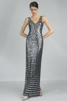 V Neck Evening gown