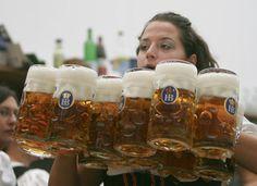 Hofbrauhaus dimpled glass beer stein (x12!) http://www.oktoberfesthaus.com/product/HB04533-80/1-Liter-HB-Hofbrauhaus-Munchen-Glass-Beer-Stein.html