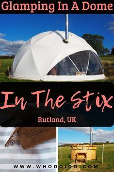 Romantic Glamping Getaway @ In The Stix Rutland UK ? Who do I do - Romantic luxury glamping weekend getaway perfect for that special occasion. Stay in a geodesic dome nestled in the valley for a unique and cool experience! Uk And Ie Destinations, Romantic Destinations, Romantic Getaways, Romantic Travel, Glamping Uk, Luxury Glamping, Visit Uk, Best Travel Guides, Europe Travel Tips