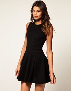 ASOS Waisted Dress with Cut Out Shoulder Detail