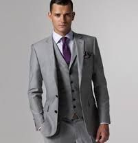 gray tuxedo with purple tie