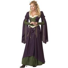 Lady In Waiting Renaissance Costume for Adults ($47) ❤ liked on Polyvore featuring costumes, halloween costumes, multicolor, adult ladies halloween costumes, adult women halloween costumes, purple costume, ladies costumes and womens costumes