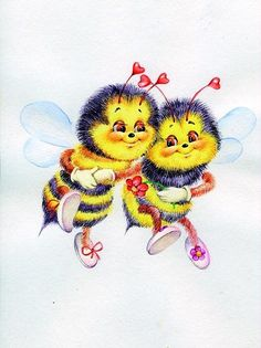 ++++++++++++++ Buzz Bee, Bee Cards, Animal Magic, Bee Happy, Couples In Love, Art Model, Fabric Wallpaper, Kids Cards, Cute Cartoon