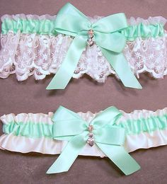 Wedding Garter Set Mint Green on Ivory Bridal by evertonbridal