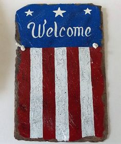 Patriotic Welcome Slate Hand Painted Art Word Art Distressed Primitive Sign Recycled Slate by ArtByThePond on Etsy : ohio state decorating ideas - www.pureclipart.com