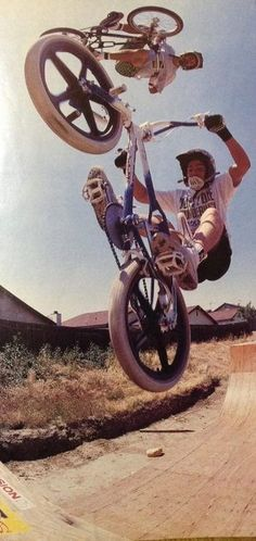 Brian Blyther airs over Mike Dominguez. / 1988  Pic by Windy