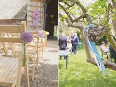 Use bottles with blooms to decorate chairs and ribbons to add colour to trees!
