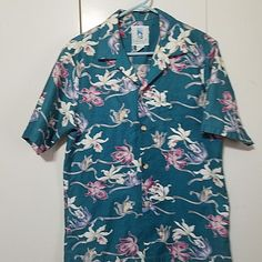 Vintage KAHALA Hawaiian Islands USA Mens M Cotton Shirt Aqua Purple Pink floral #Kahala #Hawaiian