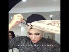 Turban with a scarf in love Turban Hijab, Turban Mode, Head Turban, Turban Headbands, Turban Tutorial, Hijab Style Tutorial, Hair Wrap Scarf, Hair Scarf Styles, Scarf Knots