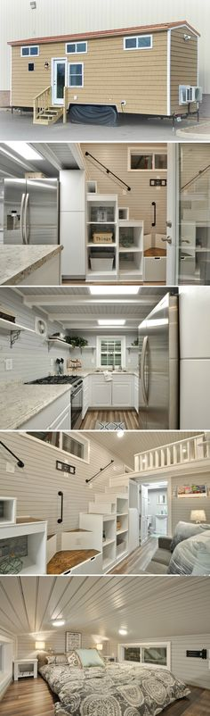 The Kate: a 345 sq ft luxury tiny house with two bedrooms and a gourmet kitchen! Love the stairs!