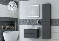Modern Bathroom Furniture Range Inludes Wall Hung Sink Cabinet And Tall  Storage Unit.