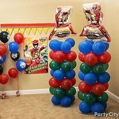 Set the battle scene for all the dino rangers! Follow our Balloon Tower How-to to make these two towers, topped with a Red Ranger Balloon.