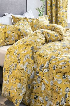 Next 2 Pack Retro Wildflower Duvet Cover and Pillowcase Set - Yellow Yellow Bedding Sets, Dorm Bedding Sets, Queen Bedding Sets, Luxury Bedding Sets, Grey Bedding, Comforter Sets, Unique Bedding, King Comforter, Yellow Rooms