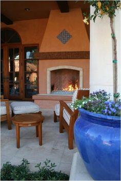 Spanish tile on pinterest tile spanish tile floors and for Spanish style outdoor fireplace