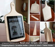 tablet recipe holder - chopping board, scrabble holder, triangle scrap of wood. Simple genius
