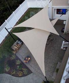 Shade Sail Photo Gallery Shade Sails - Installation Tips Deck Shade, Sun Sail Shade, Backyard Shade, Outdoor Sun Shade, Backyard Patio Designs, Outdoor Pergola, Backyard Pergola, Pergola Shade, Awning Gazebo