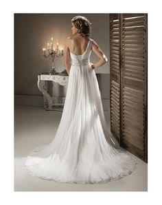 a-line chiffon Ruched one shoulder long court train wedding dress - gopromdres.com