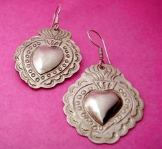 Classic Mexican Silver Sacred Heart Earrings.