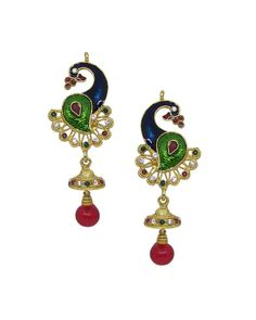 Enhance Your Alluring Charm With These Beautiful Golden, Red And Green Coloured Rajwadi Earrings From The Online Store Of Simaaya Fashions, Beautifully Studded With Stone And Beads Work. http://www.simaayafashions.com/rajwadi-brass-alloy-earrings-in-golden-and-red-jewa0646  #SimaayaFashion #RajwadiEarrings #FestiveCollection #PartyCollection #OnlineShopping