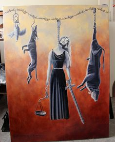 Painting of Lady Justice hanging alongside slaughtered animals, Jo Frederiks, vegan artist, animal activist, using art to raise awareness of animal suffering and inspiring change to a cruelty-free lifestyle, August 2014