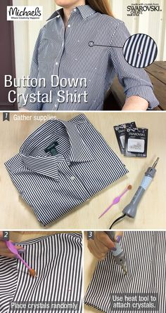 Add a touch of bling and update your button down easily using Swarovski Elements Hotfix Crystals