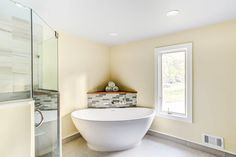Minimal to the Max with a Corner Bathroom Renovations, Home Remodeling, Master Bathroom, Bathroom Modern, Pebble Shower Floor, Custom Shower Doors, Neo Angle Shower, Corner Bath