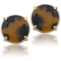 A classic tortoise button is enhanced in goldtone for a stylish pair of clip-on earrings. - Carolee Tortoise Button Clip-On Earrings