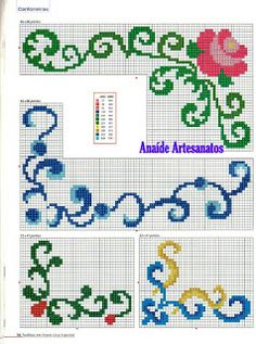 Anaide Ponto Cruz: First part of barred graphics of corner in cross stitch ! Cross Stitch Boarders, Modern Cross Stitch, Cross Stitch Charts, Cross Stitch Designs, Cross Stitching, Cross Stitch Patterns, Blackwork Embroidery, Cross Stitch Embroidery, Embroidery Patterns