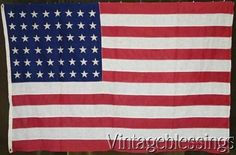 """Nice & early! Vintage 48 Star American Flag 44x67"""" Natural Aged Patina Authentic #Americana"""