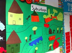 Posters used to compare and contrast suburban, urban, and rural areas