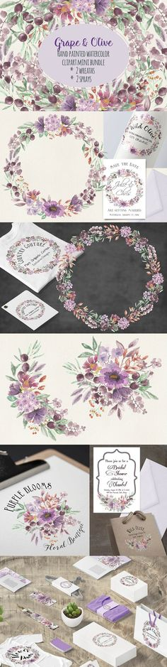 Watercolor clip art: grape and olive. Wedding Card Templates