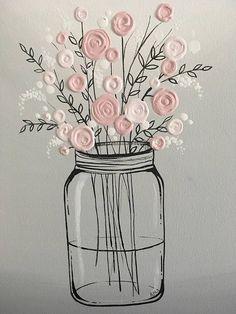 Mason Jar Flower Art Pink and Gray Textured Acrylic Original