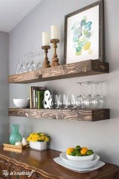 Feel like your dining room is lacking space? Check out this dining room storage idea! It includes a dining room storage with floating shelves, diy, organizing, shelving ideas, storage ideas. Dining Room Storage, Dining Room Walls, Dining Room Design, Dining Room Floating Shelves, Dining Nook, Dining Table, Floating Cabinets, Dining Decor, Bar In Dining Room