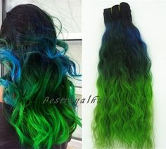 Black to Blue to Green Four Colors Ombre Hair Extensions, Indian Remy Clips in Mermaid Ombre Color Hair Extensions RHS266