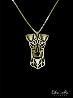 Standard Manchester Terrier gold vermeil by SiberianArtJewelry, $120.00