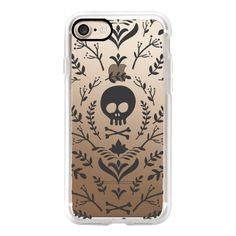 Floral Black Halloween Fall Skull Transparent Case 018 - iPhone 7... ($40) ❤ liked on Polyvore featuring accessories, tech accessories, iphone case, iphone cases, floral iphone case, apple iphone cases, slim iphone case and transparent iphone case