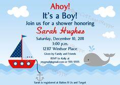 Nautical Baby Shower Invitation Printable by KellysCottageShoppe.